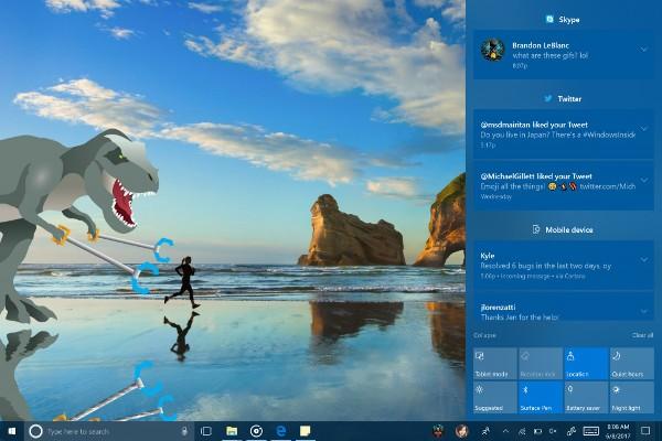 Windows 10, nuovo Action Center con Fluent Design