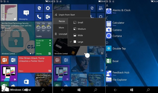 Windows 10, la CShell in azione su smartphone