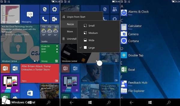 Windows 10, la CShell in azione su smartphone
