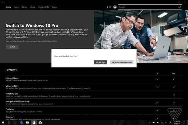 Da Windows 10 S a Windows 10 Pro