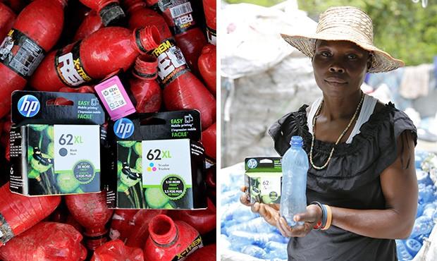 Le cartucce per le stampanti a getto d'inchiostri di HP, prodotte partendo dalle bottiglie di plastica recuperate ad Haiti