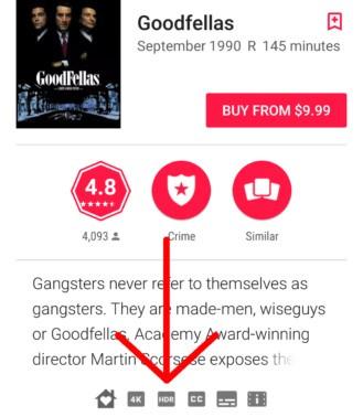 L'icona che indica la disponibilità della pellicola in HDR sulla piattaforma di streaming Google Play Film