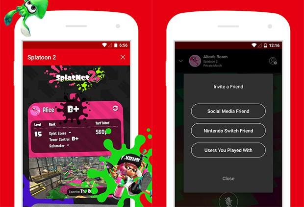 Screenshot per l'applicazione mobile ufficiale della console Nintendo Switch