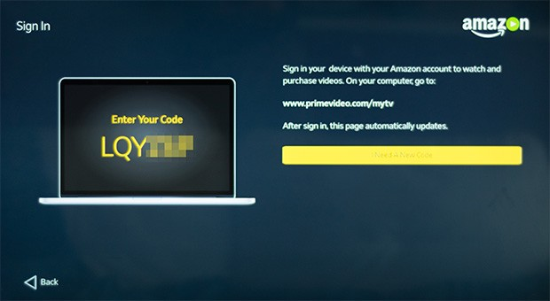 Il codice per la registrazione del dispositivo nell'account Amazon Prime Video