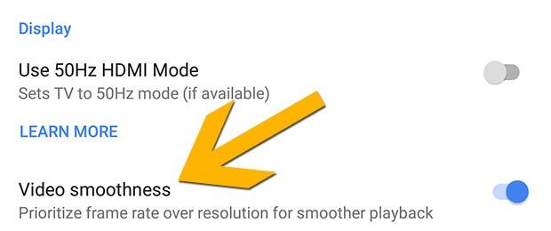 """La nuova opzione """"Video smoothness"""" introdotta da Google con l'aggiornamento firware per il dongle Chromecast Ultra"""