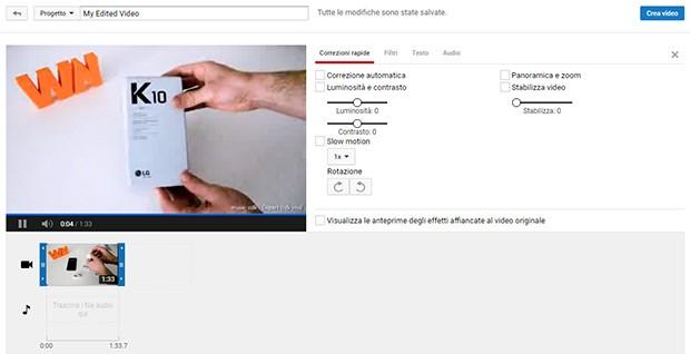 L'interfaccia dell'Editor Video messo a disposizione da YouTube, online e accessibile fino al 20 settembre