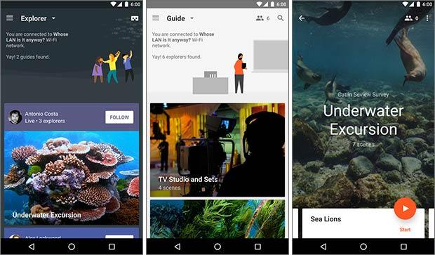 Screenshot per l'applicazione Expeditions (Esplorazioni in italiano) su smartphone Android