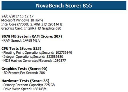 Dell XPS 13 (9360) testato con NovaBench