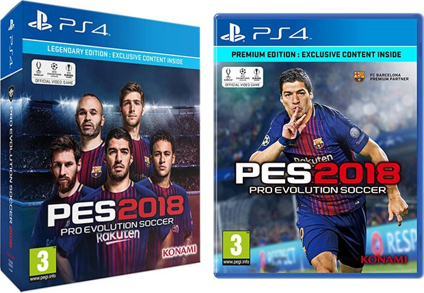 A sinistra la Legendary Edition di PES 2018 con in copertina i talenti del Barcellona, a destra la cover della Premium Edition dove figura in solitaria il bomber Luis Suárez