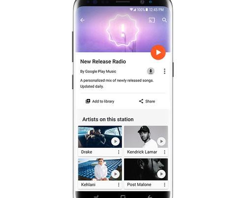 La playlist New Release Radio, qui immortalata su Samsung Galaxy S8, permette di scoprire le novità in streaming sulla piattaforma Play Musica