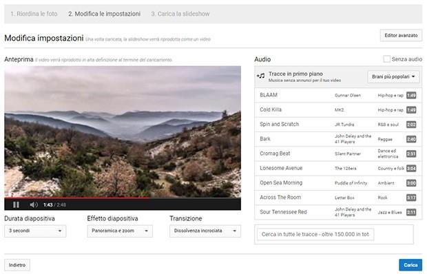 L'interfaccia dell'editor per le Slideshow Fotografiche messo a disposizione da YouTube, online e accessibile fino al 20 settembre