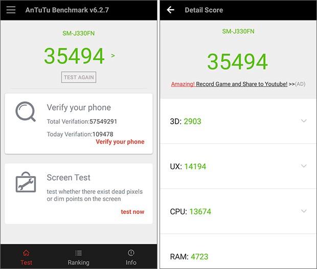 Samsung Galaxy J3 (2017) messo alla prova con il benchmark AnTuTu