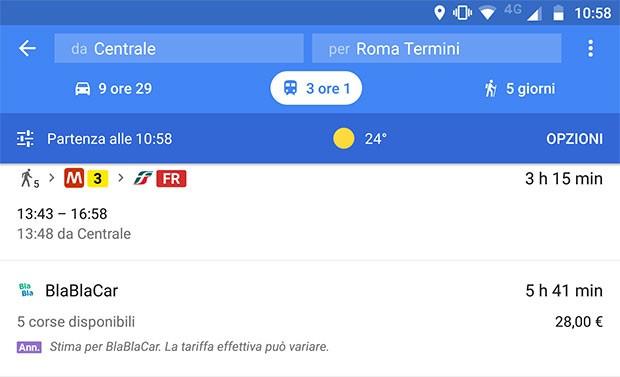 L'applicazione mobile di Google Maps segnala già anche in Italia la possibilità di scegliere BlaBlaCar come sistema di trasporto per gli spostamenti sulle lunghe distanze