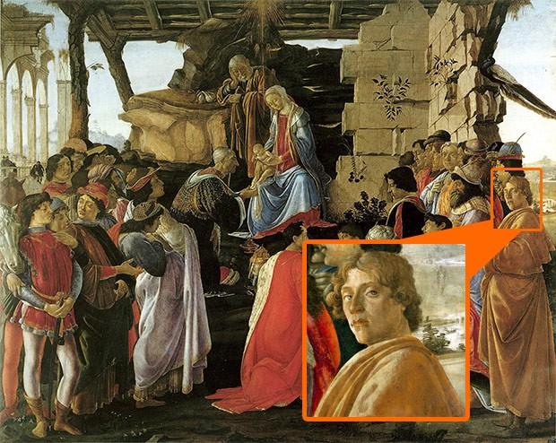 Sandro Botticelli, Adorazione dei Magi, 1475 circa: l'autore entra a far parte dell'opera inserendo il proprio autoritratto