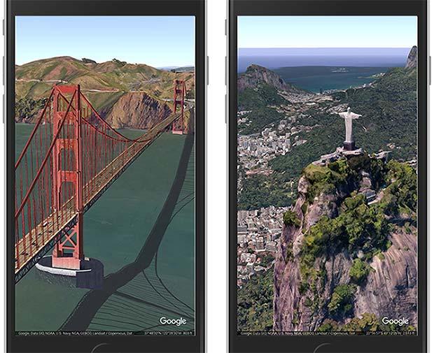 Alcuni dei luoghi più suggestivi del pianeta, nell'applicazione di Google Earth per iPhone