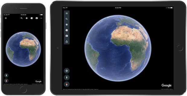 La nuova app di Google Earth in esecuzione su iPhone e iPad
