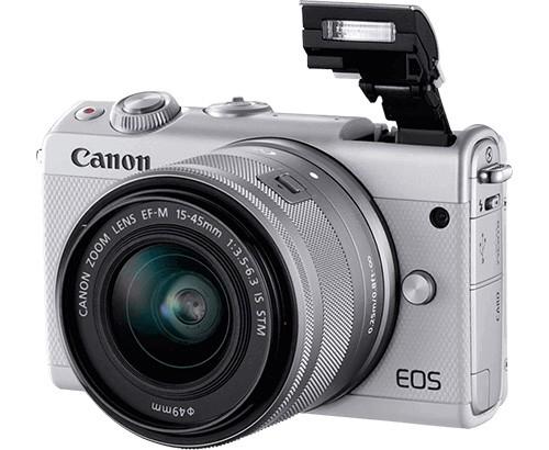 Il design della nuova mirrorless EOS M100 di Canon nella sua colorazione bianca