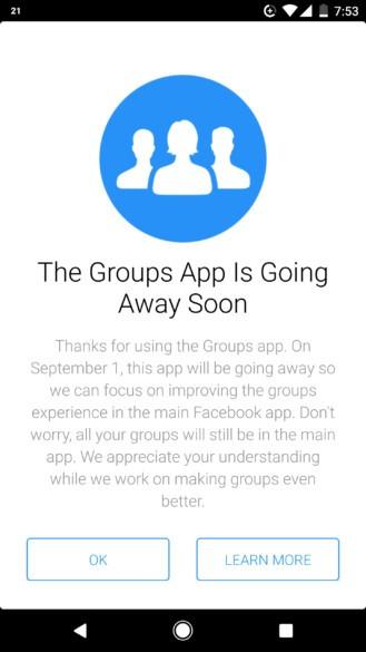 Facebook Groups chiude