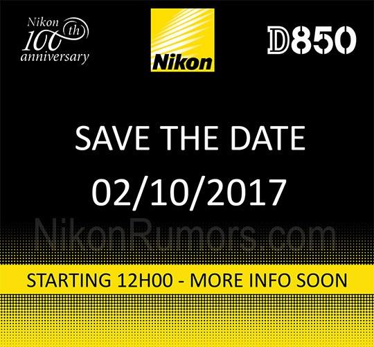 L'invito distribuito da Nikon per l'evento che andrà in scena in Belgio il 2 ottobre: sono ben visibili il logo del 100esimo anniversario del gruppo e quello della fotocamera D850