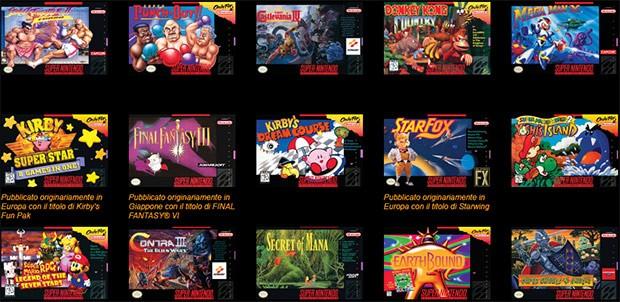 Alcuni dei 21 giochi preinstallati su Nintendo Classic Mini: Super Nintendo Entertainment System