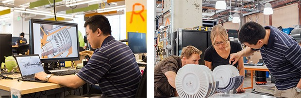 Il team del laboratorio X al lavoro su un prototipo in miniatura dell'impianto