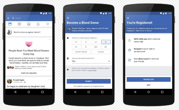 Facebook facilita la donazione di sangue