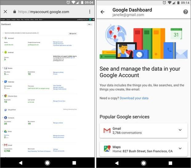 La nuova interfaccia di Google Dashboard accessibile da dispositivi mobile