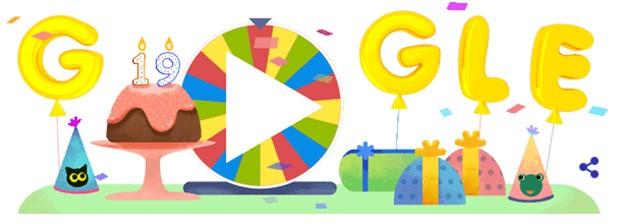Il doodle realizzato da Google per festeggiare i suoi primi 19 anni