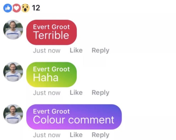 Facebook testa i commenti colorati