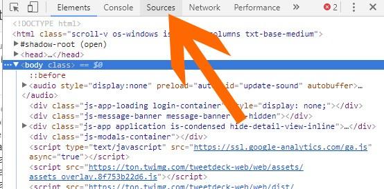 """Fare click sulla voce """"Sources"""" tra gli strumenti per sviluppatori di Chrome"""