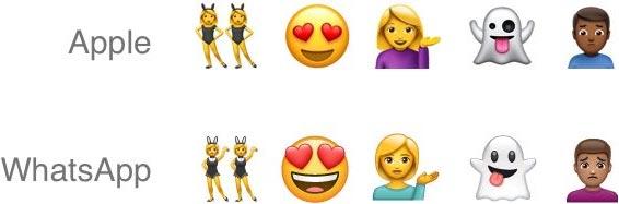 Come detto in apertura, c'è una forte somiglianza tra gli emoji di Apple e quelli ridisegnati da WhatsApp
