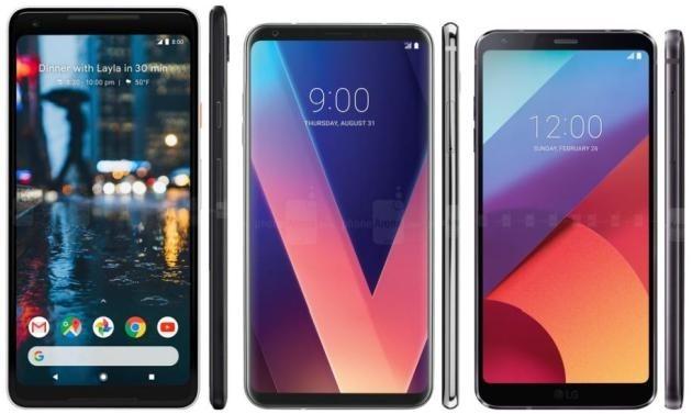 Google Pixel 2 XL (sinistra), LG V30 (centro) e LG G6 (destra).