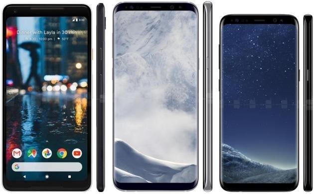 Google Pixel 2 XL (sinistra), Samsung Galaxy S8+ (centro) e Samsung Galaxy S8 (destra).