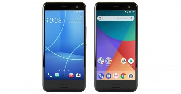 HTC U11 Life standard (sinistra) e Android One (destra).