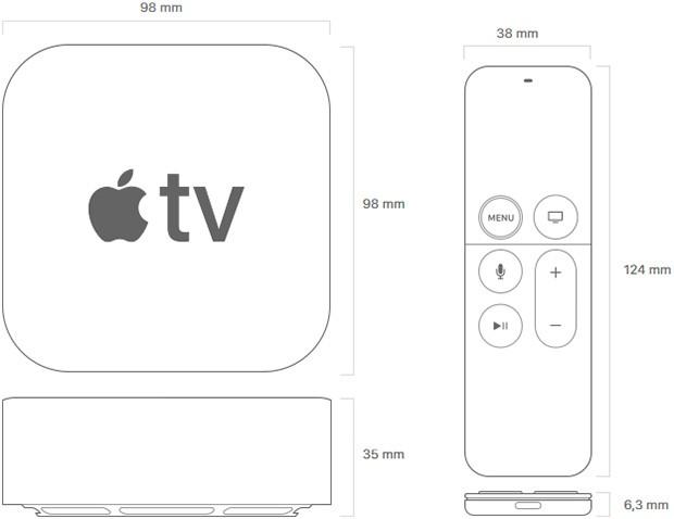 Il design e le dimensioni di Apple TV 4K e del telecomando in dotazione con il set-top box