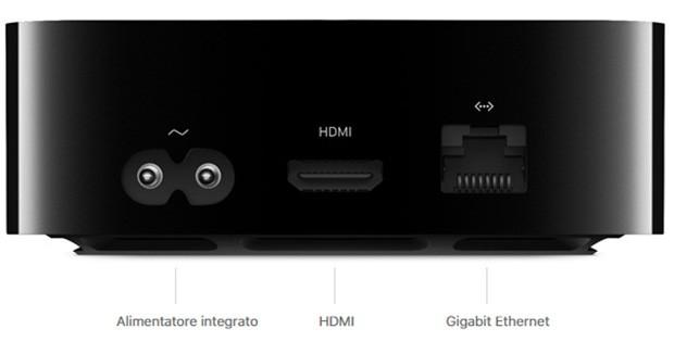 Le porte di connessione posizionate sul retro di Apple TV 4K