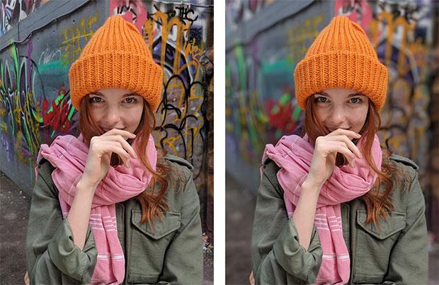 Una fotografia HDR+ scattata con la Modalità Ritratto disattiva (a sinistra) e attiva (a destra)
