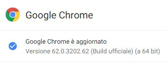 Il browser Chome di Google è stato aggiornato alla versione 62