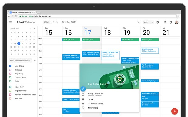 La nuova interfaccia di Google Calendar accessibile da browser desktop, con un layout in pieno stile Material Design