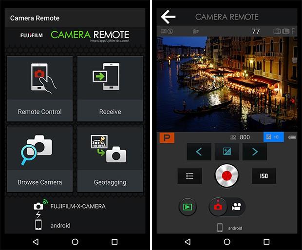 L'applicazione Camera Remote di Fujifilm in esecuzione su uno smartphone Android: può essere utilizzata per il trasferimento delle immagini o per la gestione dello scatto da remoto