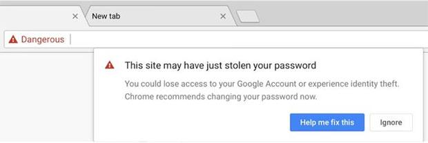 Il browser Chrome avvisa dei tentativi di sottrazione delle credenziali da parte di siti che praticano phishing