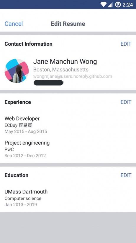 Facebook, si potrà condividere il curriculum