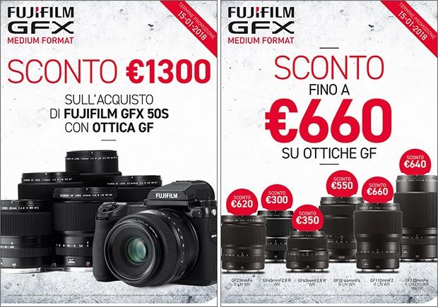 La promozione di Fujifilm dedicata alla fotocamera GFX 50S e alle ottiche GF, con sconti immediati all'acquisto