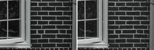 Lo stesso scatto con Effetto Grana disattivato (a sinistra) e attivato (a destra)
