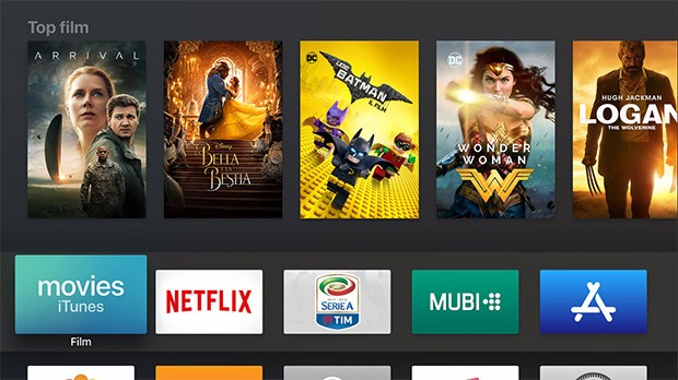 L'interfaccia di Apple TV 4K per l'accesso ai contenuti multimediali