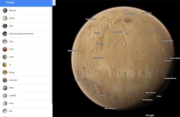 Il pianeta Marte su Google Maps