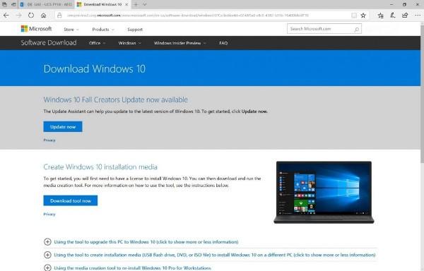 Windows 10 Fall Creators Update, forzare l'update