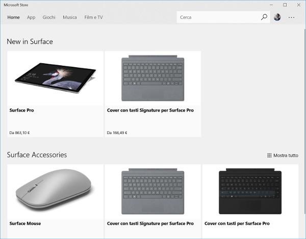 I Surface si compreranno dallo Store di Windows 10