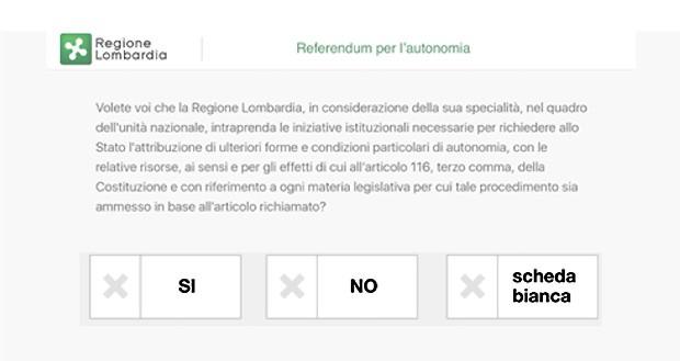 """Voto elettronico, secondo step: selezionare una delle opzioni tra """"Sì"""", """"No"""" e """"Scheda bianca"""""""
