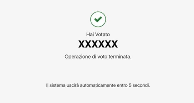 Voto elettronico, fine: l'operazione viene conclusa automaticamente cinque secondi dopo la conferma
